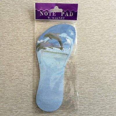 Dolphins on Beach Note Pad, Magnetic, Shape of Sandal, NEW