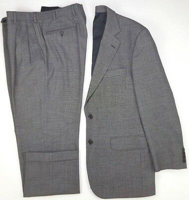 Brooks Brothers Suit 40R Birdseye Mens Size 2 Button Wool Blend Stretch Pleated