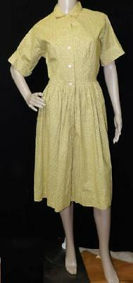 ORIG VTG 50s 60s MAD MEN COTTON SHIRT WAISTED YELLOW BROWN DAY DRESS NEW NOS M