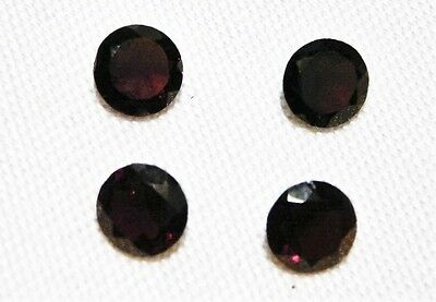 "Garnet Faceted Round Cut Gemstone, 4 Pcs, 7 Mm, 5.4Ct ""new"" Auz Seller C148"