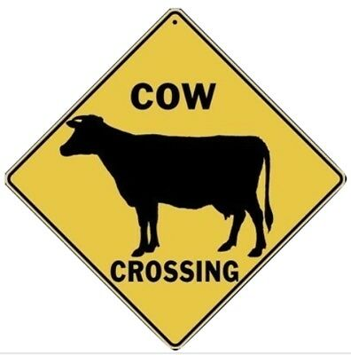 """COW Silhouette Aluminum Crossing Sign, 12"""" on sides, 16"""" on diagonal"""