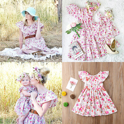 AU Seller Mother Daughter Women Kids Girls Summer Flower Ruffle Party Dresses