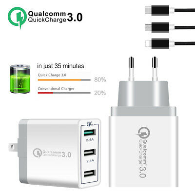 30W 3 Port Fast Quick Charge 3.0 USB Hub Wall Charger Adapter EU US UK Plug Hot