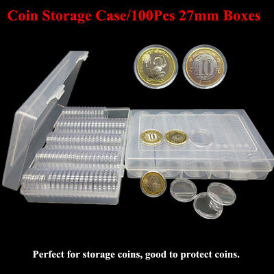 27mm Coin Cases Capsules Applied Clear Portable Round Storage Holder Box 100PCS