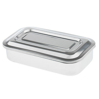 2pcs Steel Surgical Instrument Dental Tools Box Disinfection Trays with Lid