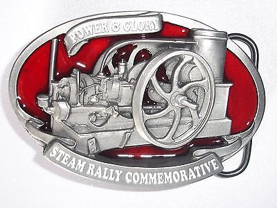 BELT BUCKLE Steam stationary engine power and glory traction model