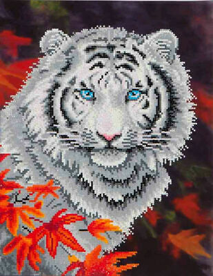 Diamond Dotz Embroidery Facet Art Kit, Intermediate White Tiger in Autumn
