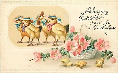 Fantasy Easter~Chicks Parade in Straw Hats~Neck Ribbons~Wild Rose Basket~Emboss