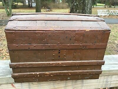 Antique Dome Top Wooden Doll Trunk