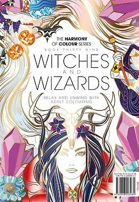 Harmony of Colour Book 39 WITCHES AND WIZARDS Adult Colouring 36 Designs - NEW