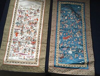 Vintage Chinese Silk Embroidery Pictures Set Of 2
