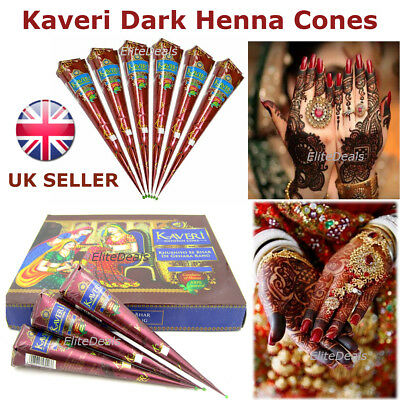 12 High Quality Kaveri Natural Henna Mehndi Tattoo Cone Darkest Brown UK SELLER
