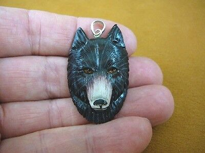 (j-wolf-12) hand painted black Wolf head aceh bovine bone carving Wolves pendant