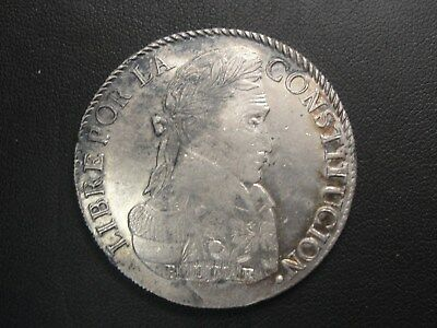 1835 Bolivia 8 Sols Silver Coin * Better Date Looks AU *