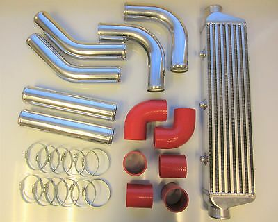 """Universal Front Mount Intercooler Kit FMIC 57mm 2.25"""" RED HOSES 550x140x65 Core"""
