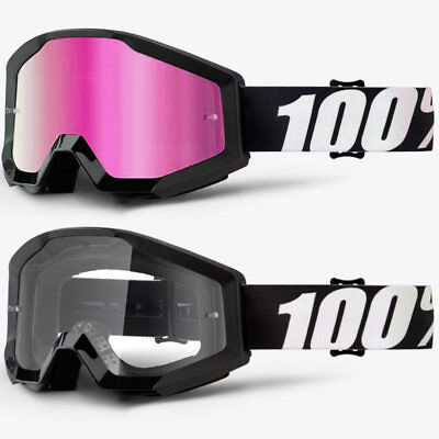 2018 100% Percent Strata Mx Motocross Goggles Outlaw Pink Mirror / Clear Lens