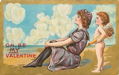 Valentine~Vintage Bathing Beauty Sees Hearts In The Clouds~Cupid~Arrows~Gold~Emb
