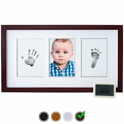 Baby Handprint Kit by Little Hippo - Baby Picture Frame + Non-Toxic Ink Kit