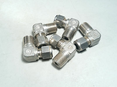 """STAINLESS STEEL 316 3/8"""" TUBE OD x  3/8"""" MALE NPT ELBOW FITTING - LOT OF 5"""