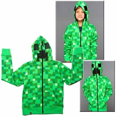 Minecraft Creeper Kids Boys Youth Hoodie Zip-Up Coat Sweater Jacket