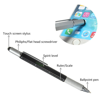 Black Multi Tool Tech Ballpoint Pen 6 in 1 Spirit Level, Screwdriver, Ruler BNIB