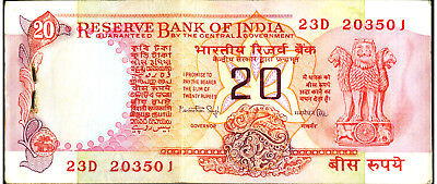 INDIA Reserve Bank 20 Rupees ND  Pick 82. ALMOST UNC STAPLE HOLE AS SHIPPED