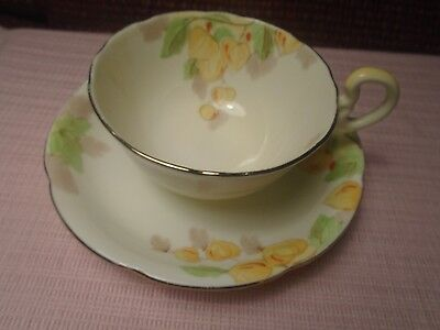 Grafton China Cup Saucer Yellow Flowers
