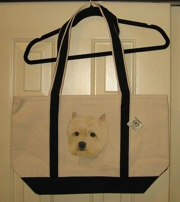 Westie West Highland Terrier Heavy Canvas Tote Bag-Nwt- Hand Painted-Very Cute