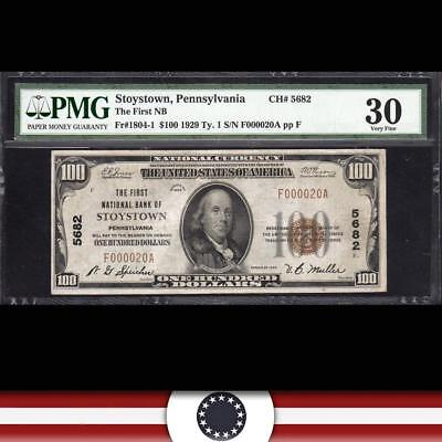 1929 $100 STOYSTOWN, PA National Banknote PMG 30 SOMERSET COUNTY  F000020A