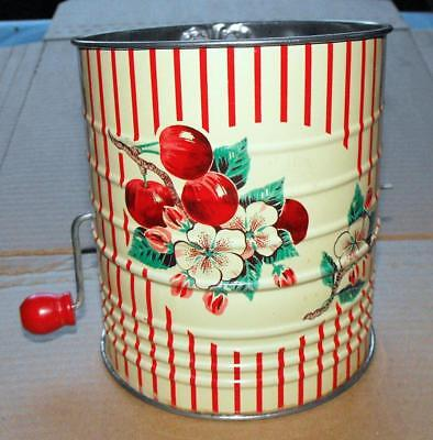 Wonderful Retro Mid Century Pink Red & Green Tin Flower Sifter Apples Pattern
