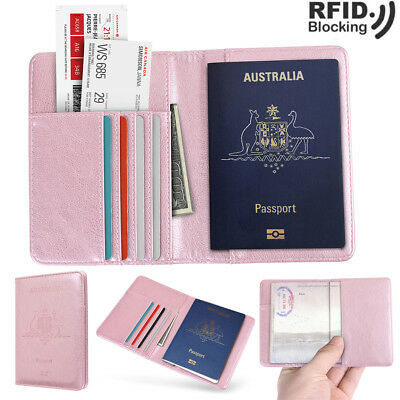 Luxury Leather Travel Passport Holder Wallet RFID Blocking Case Cover Cards Slot