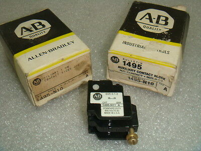 1 New Allen Bradley 1495-N10, Auxiliary Contact For Starter Or Contactor, Nib
