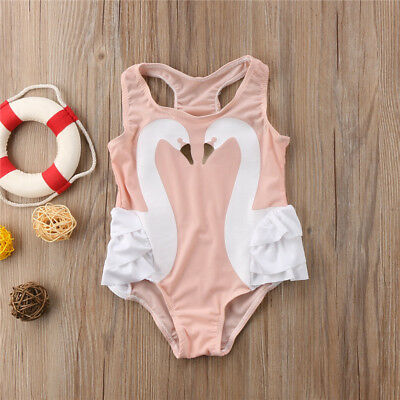 AU Stock Kids Baby Girls Swan Bikini Swimsuit Swimwear Bathing Suit Beachwear