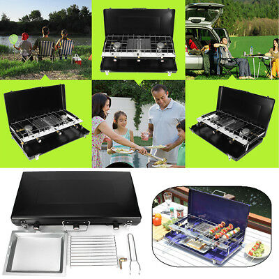 Portable Tabletop BBQ Gas Stove Grill Cooker Dual Burner Heater Camping Picnic