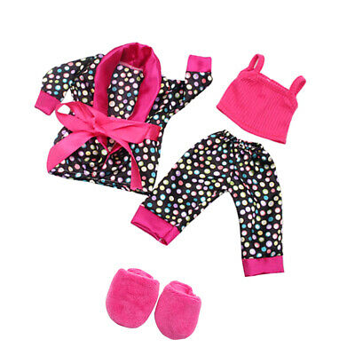 5pcs Pajamas Set Clothes Slipper Shoes for 18inch AG American Doll My Life Doll