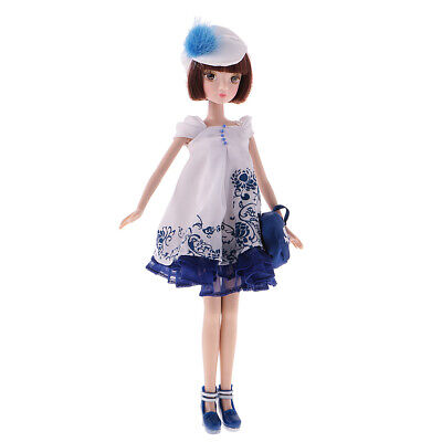 28cm Joints Vinyl Body Doll Fashion Costume BJD Doll with Shoes Clothes Set