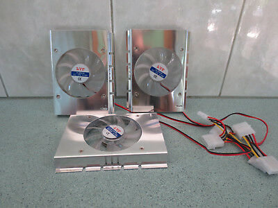 "Three single 80mm fan coolers for 3.5"" hard disk drives - one never been used"