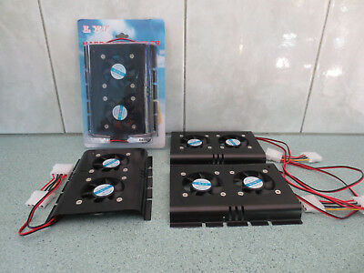 "Four twin 50mm fan coolers for 3.5"" hard disk drives - one never been used"