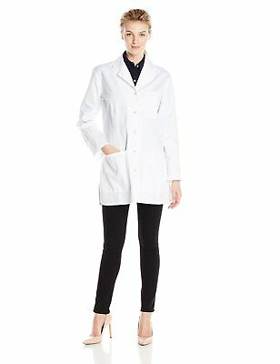 Cherokee Womens 32 Inch Snap Front Lab Coat, White, Small