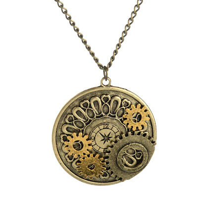 Watch Gears Necklace Steampunk Pendant Charms Chain Machinery Gear Movements