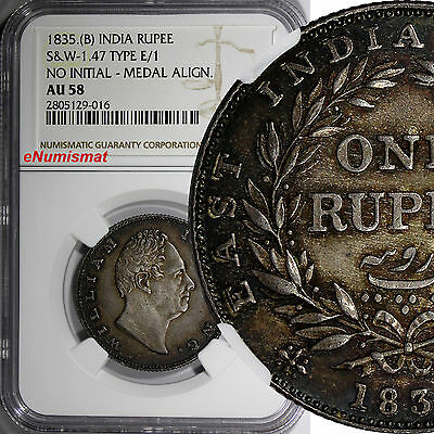 India-British William IV Silver 1835 (B) Rupee NGC AU58 Thick lettering KM#450.1