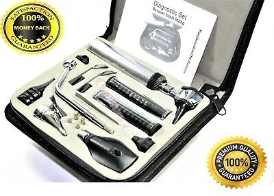 ENT (Ear,Nose &Throat) Diagnostic,Otoscope,Ophthalmoscope set W/Zipper Case NEW