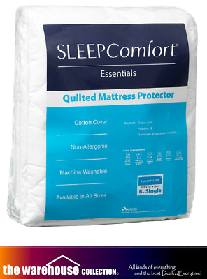 Sleep Comfort Queen Mattress Protector Quilted Essentials Strap Fit Cotton Cover