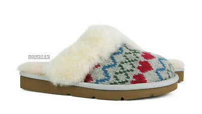 1d1b9bb4737 UGG AUSTRALIA COZY Knit Hearts Seal Fur Slippers Womens Size 6 *NEW*