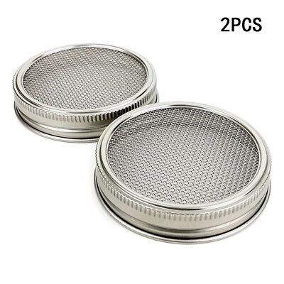 2pcs Durable Stainless Steel Strainer Sprouting Lid for Jar Sprout Kitchen Tools