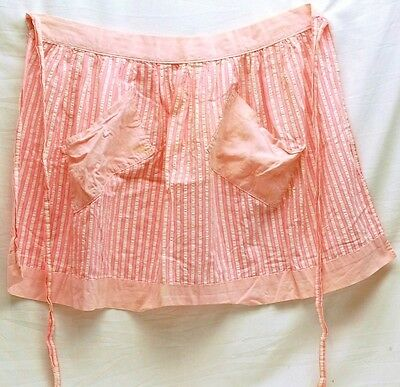 Old Vintage Hand Made Half Apron Two Tone Pink Striped Design w Two Pockets