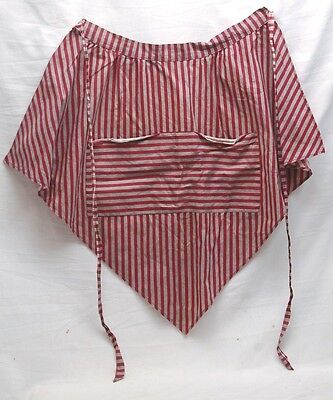 Old Vintage Hand Made Apron Burgundy & Grey Stripes One Pocket w Two Openings