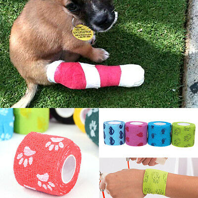 1-10*5M Pet Horse Dog Cat Animal Wound Non Woven Cohesive Bandage Self Adherent