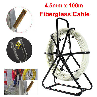 4.5mm*100m Fiberglass Wire Cable Fish Tape Running Rod Duct Puller Electric Reel