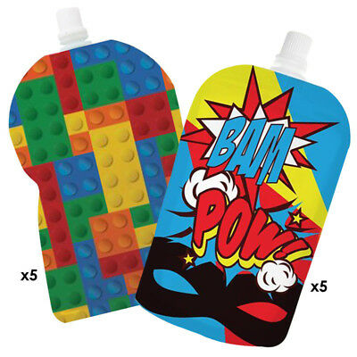 My Lil Pouch! 140ml Brick and Super Hero Top Spout Reusable Food Pouch - 10 pack